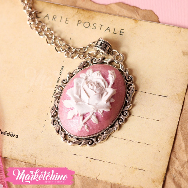 Necklace-Polymer Clay-Pink