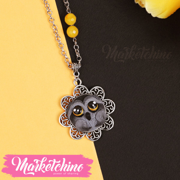 Necklace-Owl-Gray
