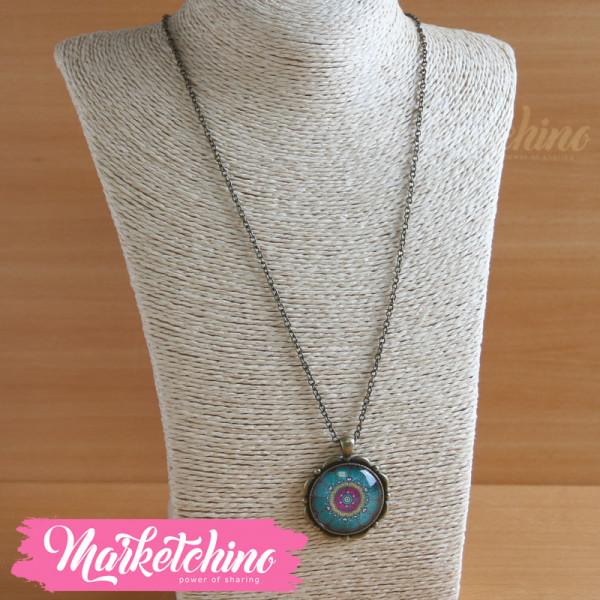 Necklace-Islamic Pattern-Fuchsia&Min Green