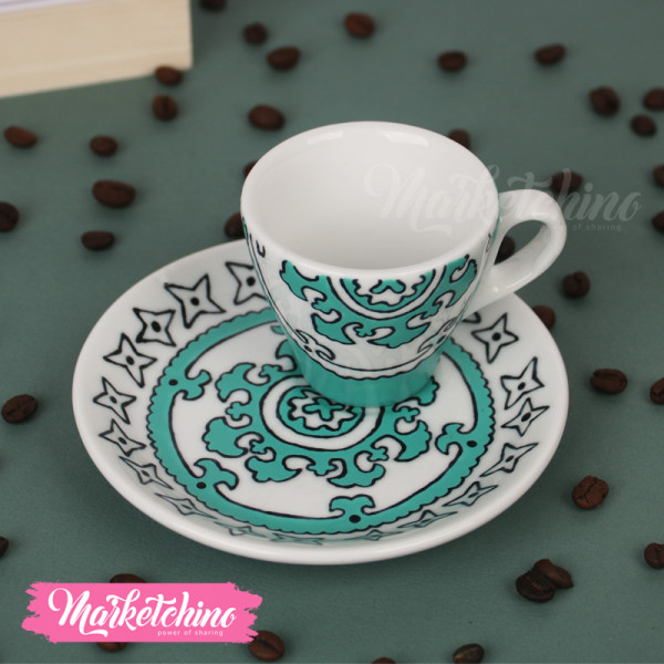 Painted Cup&Plate-Mint Green