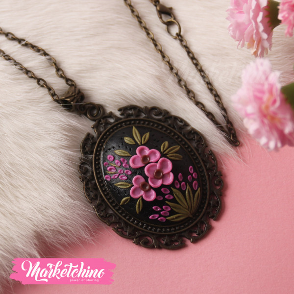 Necklace-Polymer Clay-Purple Flower