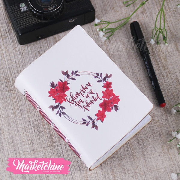 Leather Notebook-Bloom Where You Are